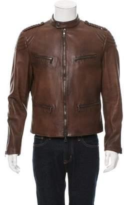 John Varvatos Leather Cafe Racer Jacket w/ Tags