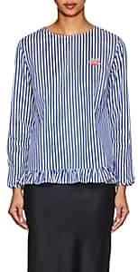 Maison Labiche Women's Embroidered Striped Cotton Blouse