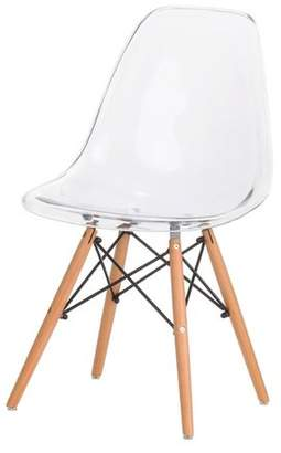 PoliVaz Plastic Molded Side Chair with Oak Legs