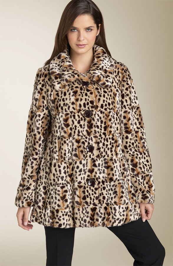 Gallery Leopard Print Faux Fur Trapeze Swing Coat