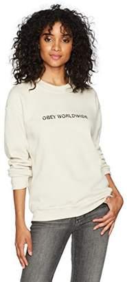 Obey Women's Static Worldwide Crewneck Fleece Sweatshirt