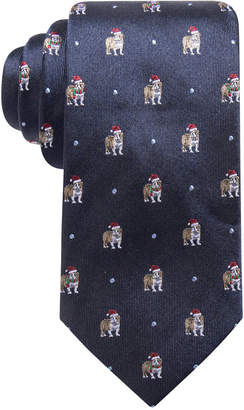 Club Room Men Bulldog Santa Hat Silk Tie