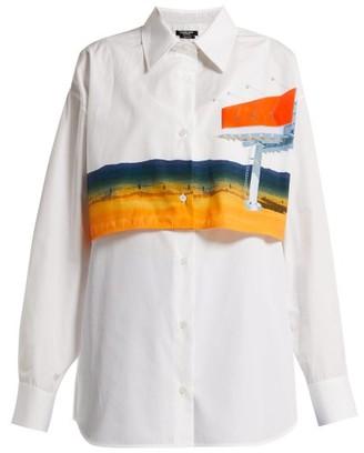 Calvin Klein Printed Double Layered Cotton Shirt - Womens - White Multi