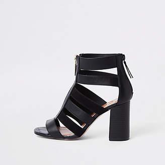 River Island Black wide fit caged block heels