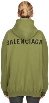 Balenciaga Logo Printed Jersey Sweatshirt Hoodie