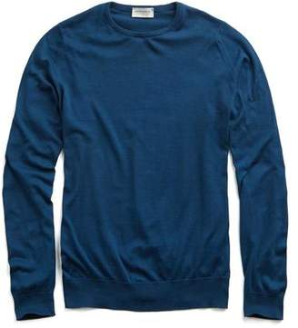 John Smedley Sweaters Hatfield Cotton Crewneck Sweater in Indigo