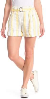Frame Linen Striped Shorts