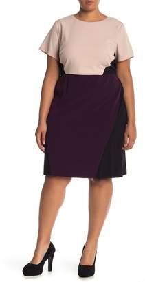Vince Camuto Bi-Stretch Color Block Sheath Dress (Plus Size)