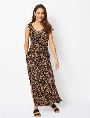 George Brown Leopard Print Split Hem Maxi Dress 6f56e1d2f