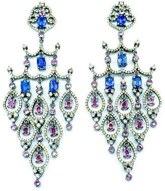 Arthur Marder Fine Jewelry 14K & Silver 8.77 Ct. Tw. Diamond & Gemstone Earrings