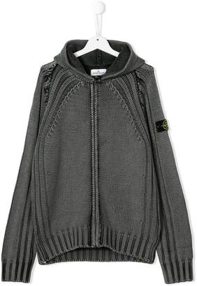 Stone Island Junior TEEN hooded knit jacket