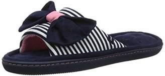 Isotoner Women's Ladies Stripe Open Toe Bow Slippers Back