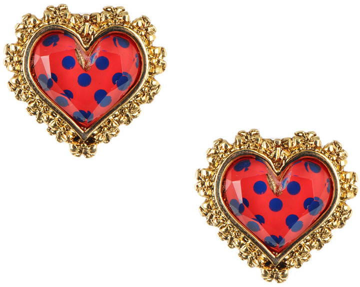 Polka Dot Heart Stud Earrings