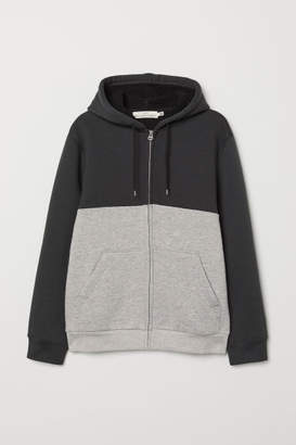 H&M Pile-lined Hooded Jacket - Black