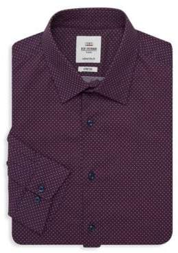 Ben Sherman Slim-Fit Geometric-Print Dress Shirt