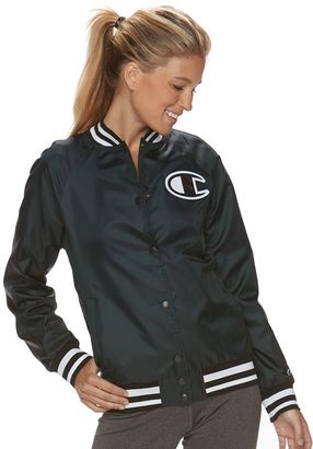 Women's Champion Snap Front Baseball Jacket $60 thestylecure.com