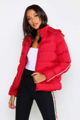 boohoo Stripe Sleeve Puffer Jacket