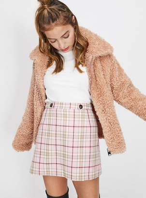 Miss Selfridge PETITE Pink Check Print Skirt