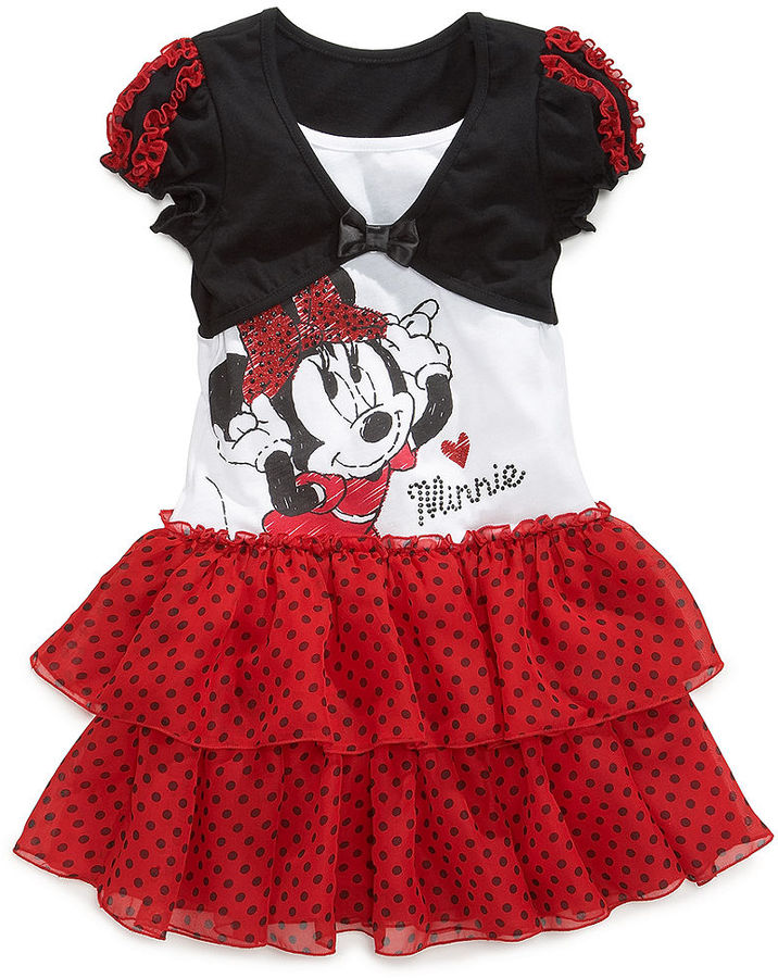 Disney Kids Dress, Little Girls Minnie Mouse Polka Dot Shrug Dress