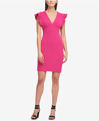 DKNY V-Neck Scuba Sheath Dress