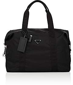 Prada Men's Small Leather-Trimmed Duffel Bag-Black