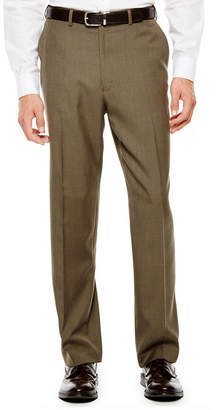 Izod Light Brown Sharkskin Flat-Front Suit Pants - Classic Fit