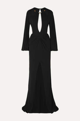 Dundas Bead-embellished Cutout Georgette Gown - Black