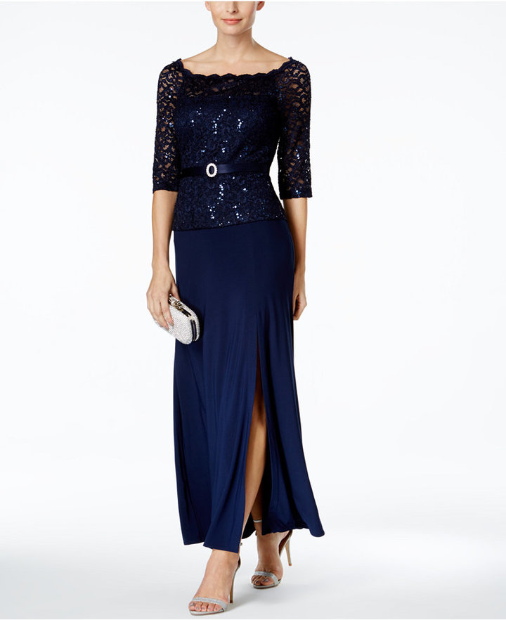 R & M Richards Sequined Lace A-Line Gown