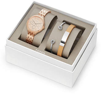 Fossil Suitor Multifunction Rose Gold-Tone Stainless Steel Watch and Jewelry Gift Set