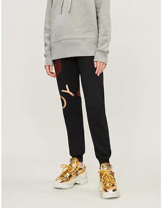 Boy London Metallic logo-print cotton-jersey jogging bottoms