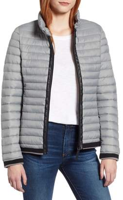 Andrew Marc Stripe Trim Packable Down Jacket