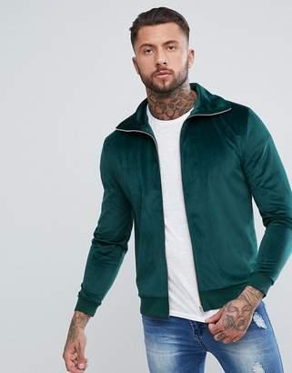 Asos Track Jacket In Green Velour