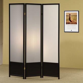 Coaster Company 3-Panel Translucent Room Divider/Folding Screen, Black