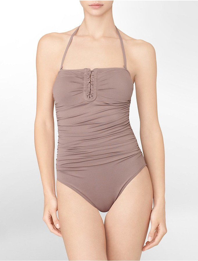 Calvin Klein Shirred Bandeau One-Piece Bathing Suit