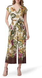 Tahari Tropical Print Crop Wide Leg Jumpsuit