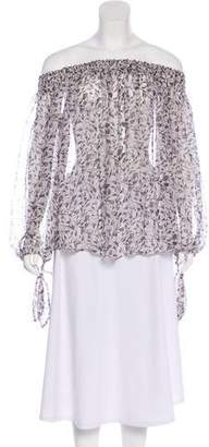 Caroline Constas Semi-Sheer Long Sleeve Top