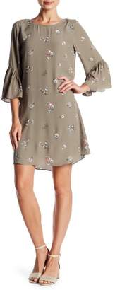 Vince Camuto Floral 3/4 Bell Sleeve Dress