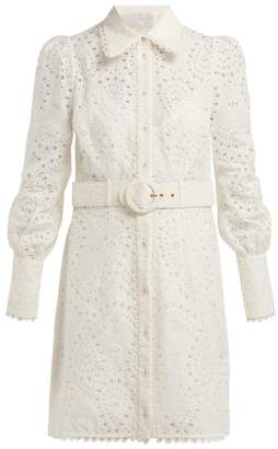 Zimmermann Heathers Belted Broderie Anglaise Mini Dress - Womens - Ivory