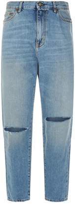 Saint Laurent Straight High-Rise Ripped Knee Jeans