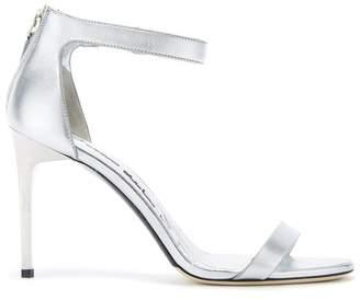 Oscar de la Renta Silver Leather Ange Sandals