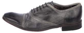 John Varvatos Distressed Leather Lace-Up Oxfords grey Distressed Leather Lace-Up Oxfords