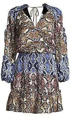 Parker Women's Gladis Colorblock Snake Print Blouson Dress