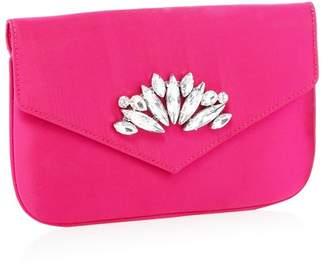 f1b321e7d2625 at Debenhams · Faith - Pink Crystal Embellished Satin  Peaches  Clutch Bag