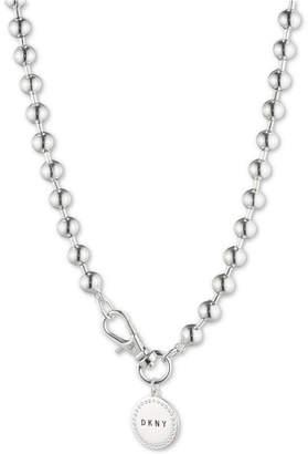 "DKNY Beaded Logo 17-2/5"" Pendant Necklace, Created for Macy's"
