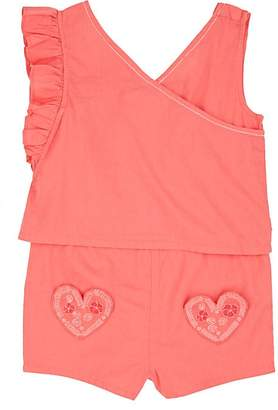 Billieblush KIDS' HEART-DETAILED COTTON SLEEVELESS ROMPER