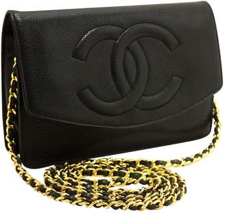 Chanel Vintage Wallet on Chain Black Leather Handbag