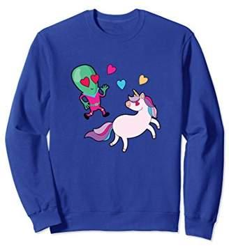 Funny Alien Magical Unicorn Love Adorbale Gift Sweatshirt