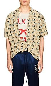 Gucci Men's Anime-Print Silk Bowling Shirt - Pink
