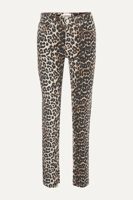 Ganni Leopard-print High-rise Slim-leg Jeans - Leopard print