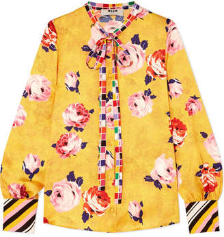 MSGM Floral-print Satin Blouse - Yellow